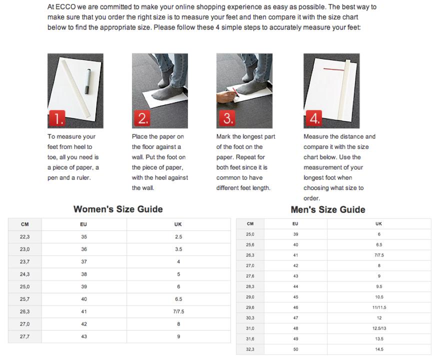 Ecco Shoe Size Chart