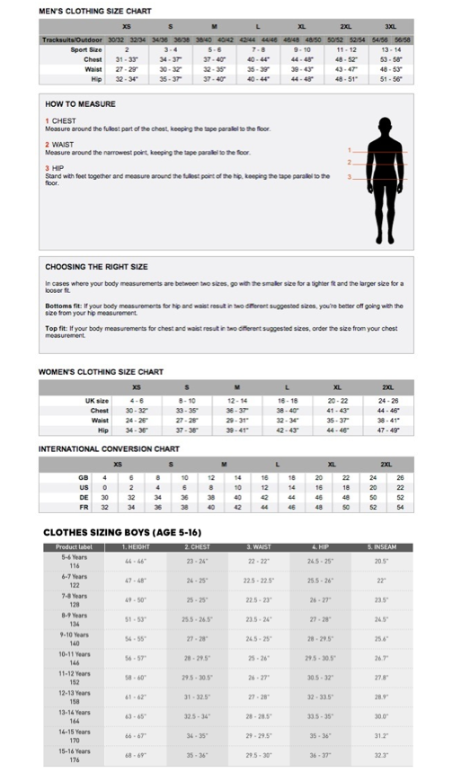 Adidas Clothing Size Guide