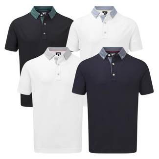 FootJoy Stretch Pique with Woven Buttondown Collar Polo Shirt