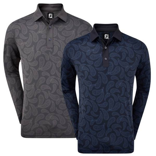 FootJoy Mens Long Sleeved Tonal Paisley Print Polo Shirt
