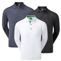 Footjoy Mens Houndstooth Long Sleeved Stretch Lisle Golf Polo