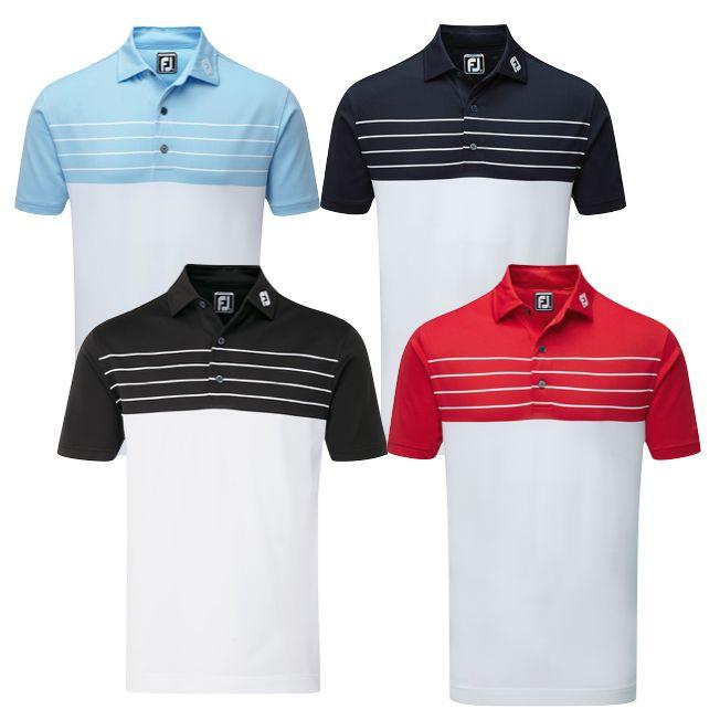 90455466 FootJoy Stretch Pique Striped Colour Block Athletic Golf Shirt