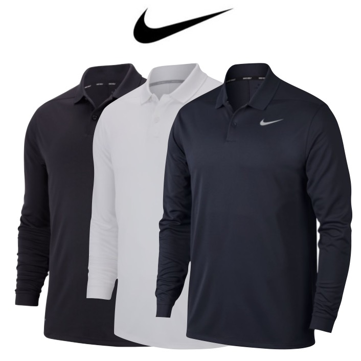 Nike Mens Dry Victory Long Sleeve Golf Polo
