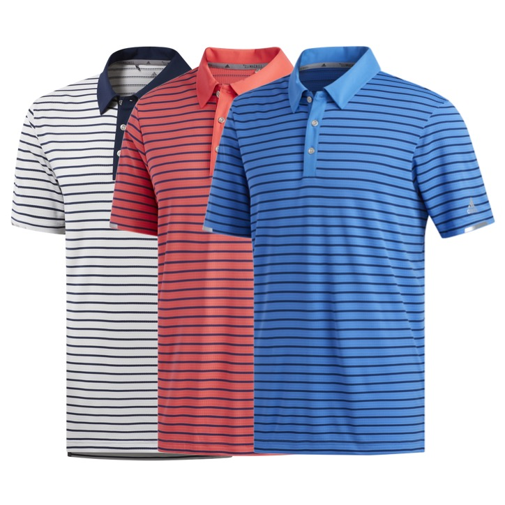 8fc5a2709b adidas Mens Climachill Three Colour Stripe Golf Polo Shirt