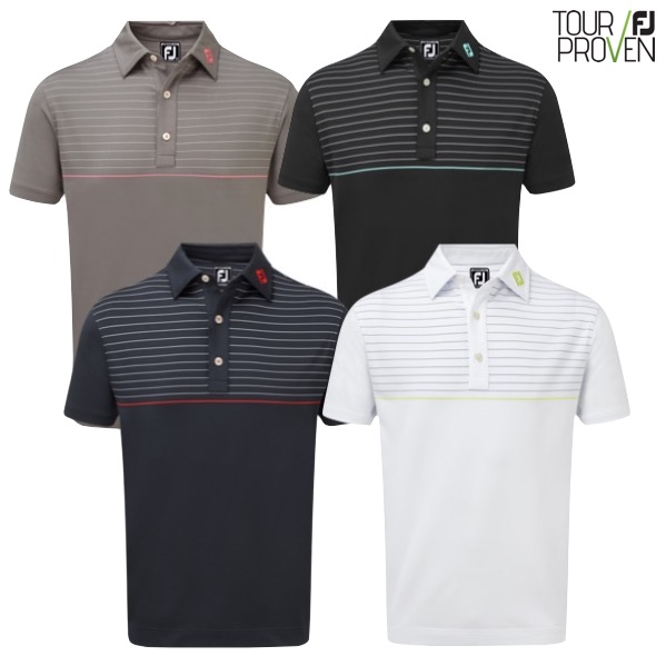 3bde1887 FootJoy Mens Lisle Engineered PinStripe Polo Shirt - New 2019