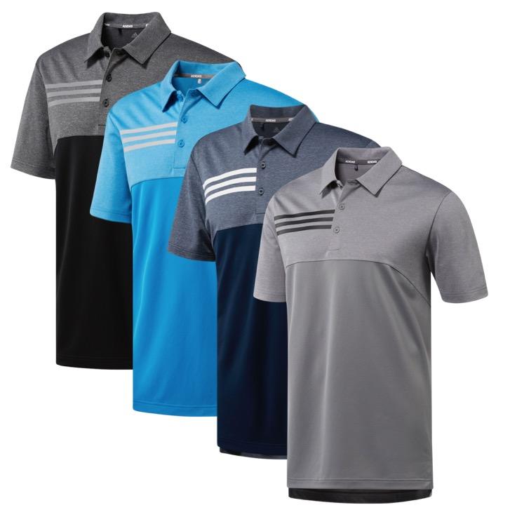 796c7582883 adidas 3 Stripe Heather Block Golf Polo
