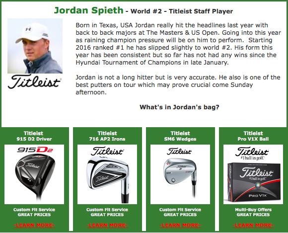 Jordan Spieth #2 Titeist