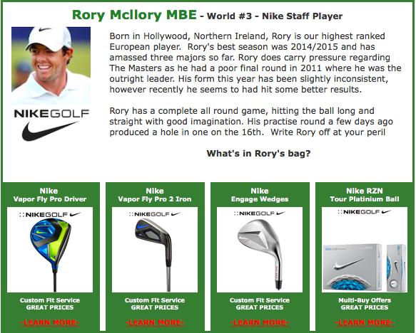 Rory Mcilroy #3 Nike