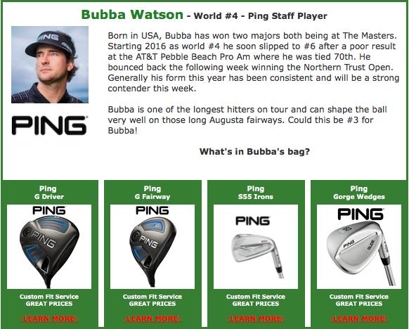 Bubba Watson #4 Ping