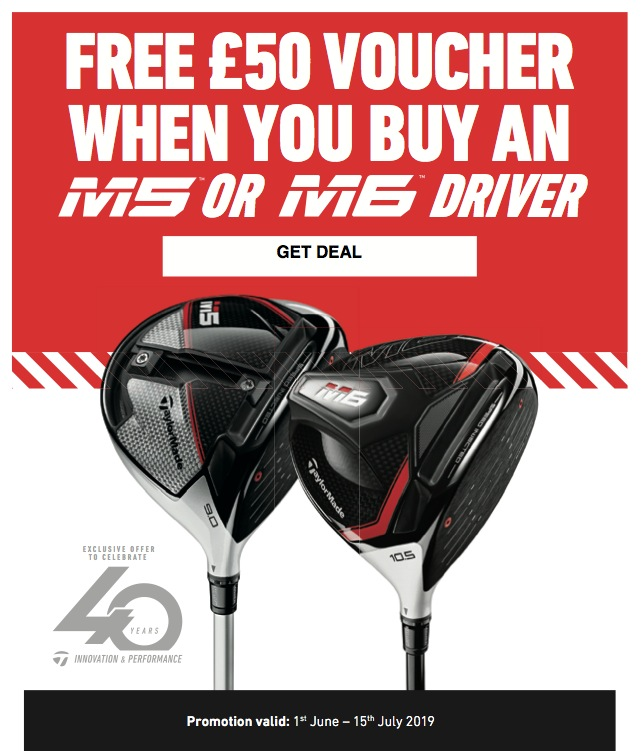 £50 Voucher With Any TaylorMade M5 & M6 Driver!